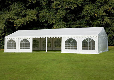 White Frame Tent With Centre opened