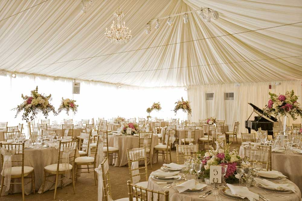 Frame tents are ideal wedding tents when it comes to space and endless floor plan options.