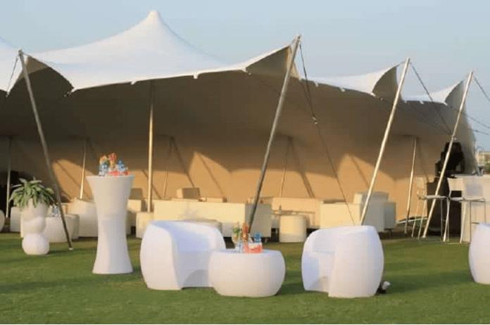 white stretch tent wedding